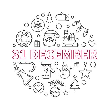 31 December vector concept outline creative illustration