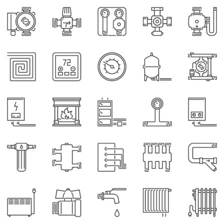 Heating and boiler room outline icons set. Vector heaters signs