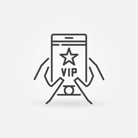 VIP Smartphone in hands vector outline icon or symbol
