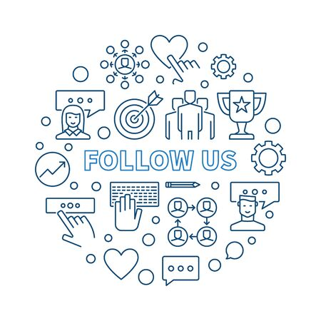 Follow US vector round concept outline illustration