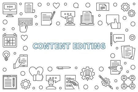 Content Editing outline horizontal frame. Vector illustration