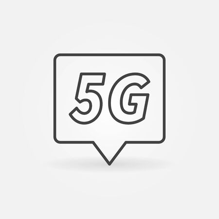 5G technology location mark concept outline vector icon