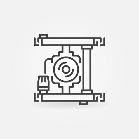 Pump Mixing Unit vector concept icon in outline style Stock Illustratie