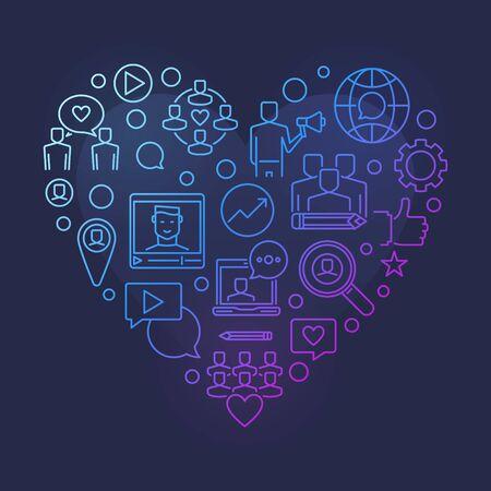 Blog or Blogging vector colorful linear heart illustration