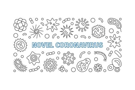 Novel Coronavirus vector outline horizontal illustration
