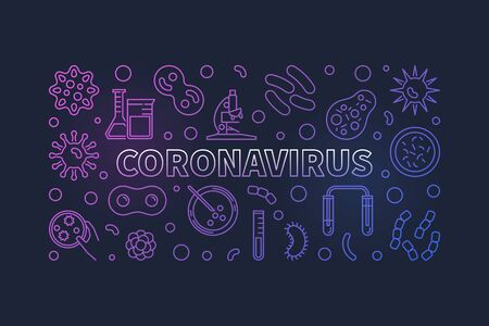 Coronavirus vector concept linear horizontal colorful illustration Vectores