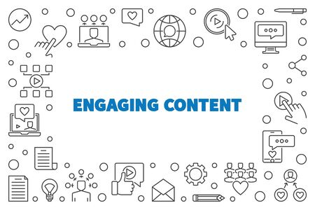 Engaging Content vector concept simple outline frame Vetores