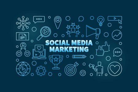 Social Media Marketing vector blue linear horizontal banner