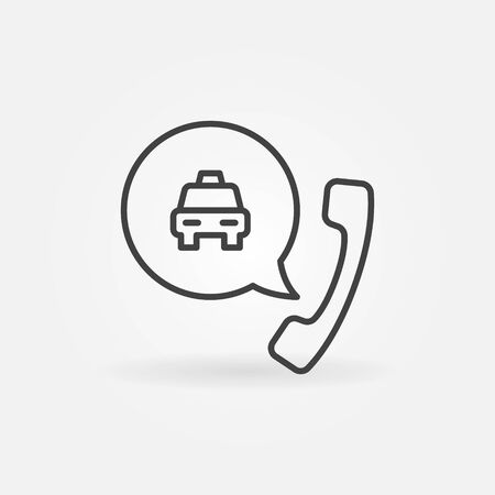 Icône de contour de concept de vecteur d'appel téléphonique de taxi ou signe