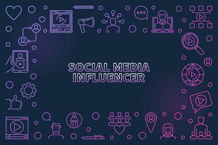 Social Media Influencer concept linear colored vector frame