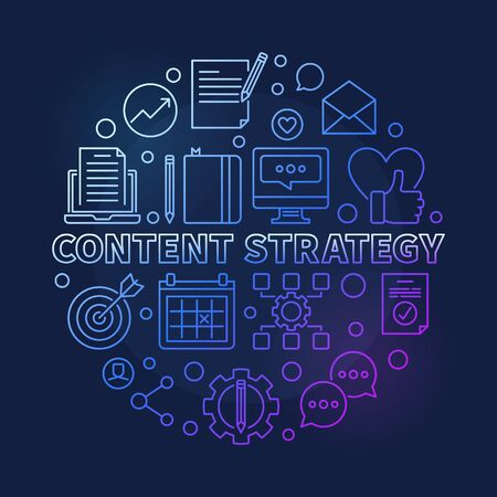 Content Strategy vector circular outline colorful illustration