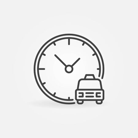 Taxi Time vector concept outline icon. Car with Clock sign Çizim