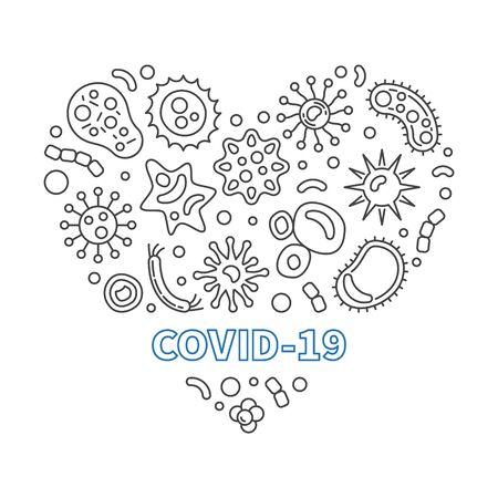 Covid-19 Corona Virus Heart vector outline illustration