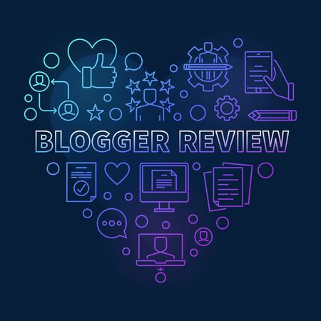 Blogger Review Heart vector colorful linear illustration