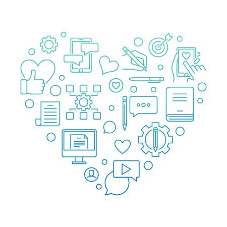 Content vector concept modern outline heart illustration