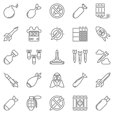 Missile and Air Bomb outline icons set - vector military symbols