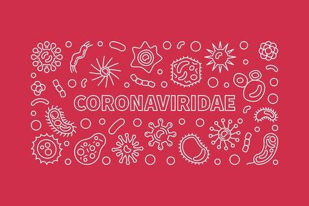 Vector Coronaviridae vector concept outline horizontal banner