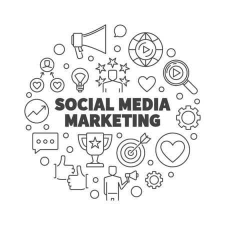 Social Media Marketing vector round outline illustration Illusztráció