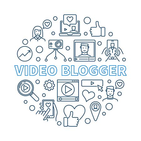 Video Blogger vector round concept linear illustration