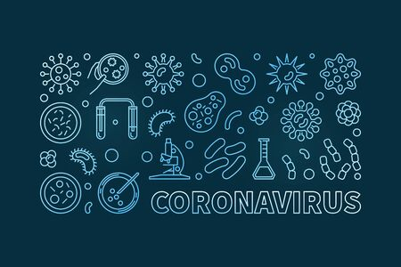 Coronavirus vector concept horizontal blue banner