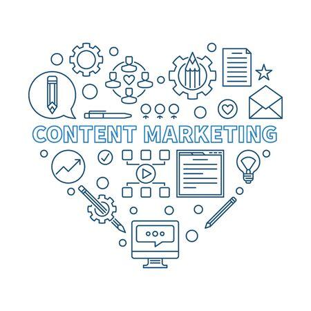 Content Marketing Heart vector blue thin line illustration