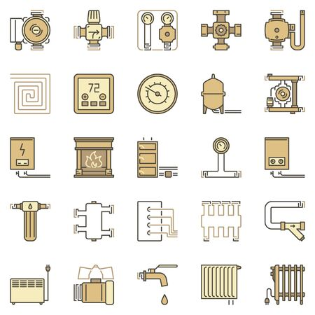 House Heating and Heaters colored concept vector icons set