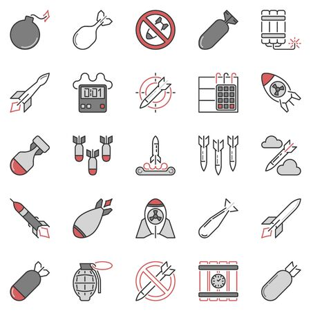 Airstrike and Missile vector concept colored icons collection