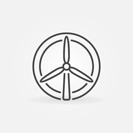 Wind turbine vector circular icon in thin line style