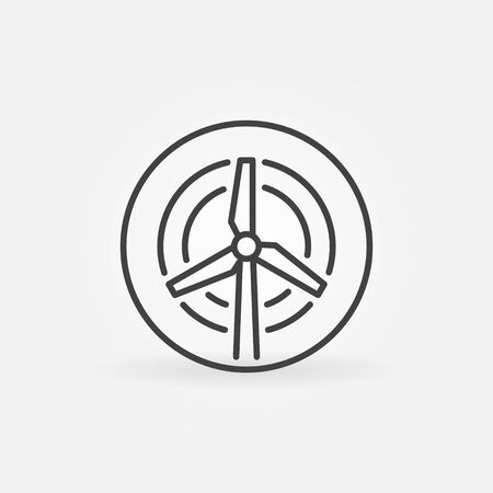 Vector Wind Turbine in circle outline concept icon