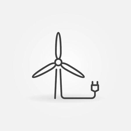 Wind Turbine with plug outline vector concept icon or symbol