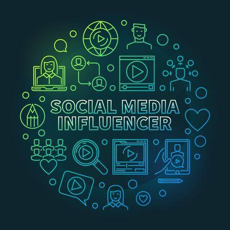 Social Media Influencer vector round colored concept linear illustration on dark background Illustration