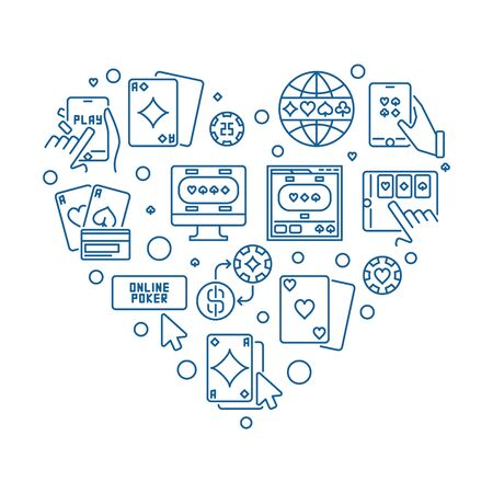 Online Poker Heart vector concept thin line illustration