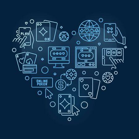 Online Poker Heart vector concept outline blue illustration 写真素材 - 142995253