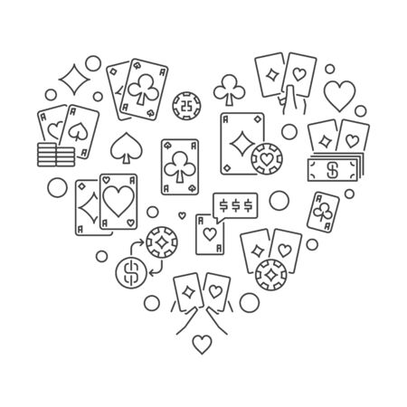 Poker vector concept Heart Shaped illustration made with playing cards line icons 写真素材 - 142995355