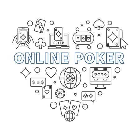 Online Poker Heart vector concept linear illustration