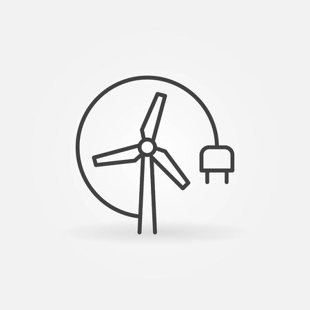 Vector Wind Turbine with plug outline concept icon 矢量图像