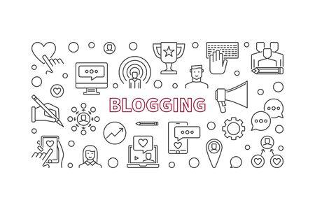 Blogging vector horizontal outline illustration or banner