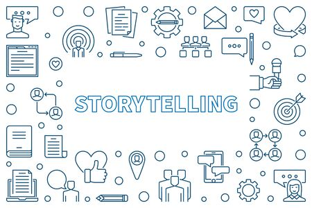 Storytelling vector concept horizontal frame or illustration in thin line style