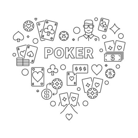 Poker Heart vector concept minimal illustration in thin line style  イラスト・ベクター素材