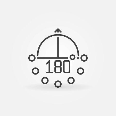 180-degrees angle linear vector concept minimal icon Ilustración de vector