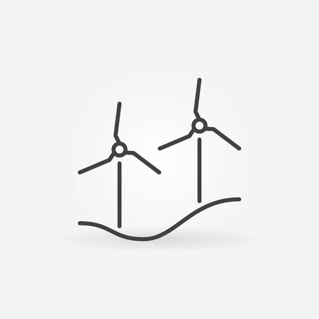 Wind Turbines outline vector concept minimal icon or sign 矢量图像