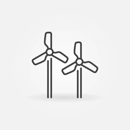 Wind Turbines linear icon - vector Wind Power outline sign