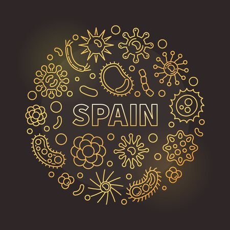 Coronavirus in Spain vector circular outline golden illustration Çizim