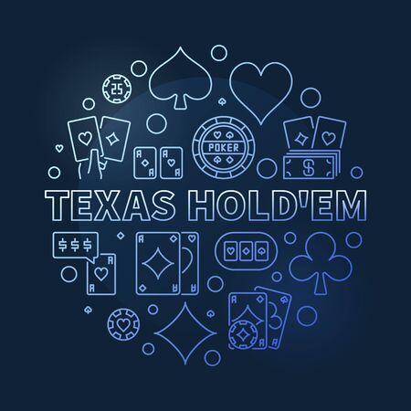 Texas Holdem round blue vector outline illustration