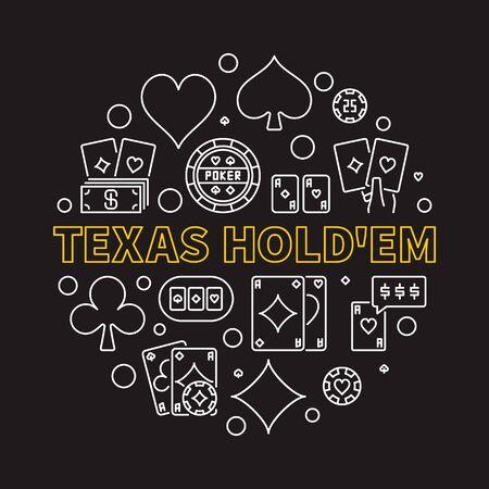 Texas Holdem Poker Game round vector linear illustration