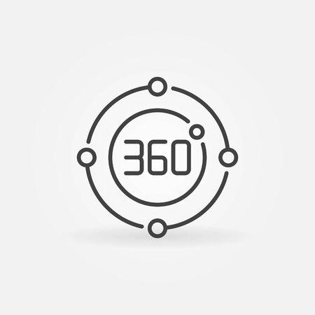 360 degrees circle vector concept icon in outline style Vektoros illusztráció