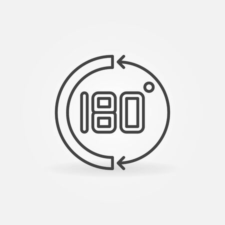 180 degrees vector concept simple math icon in thin line style