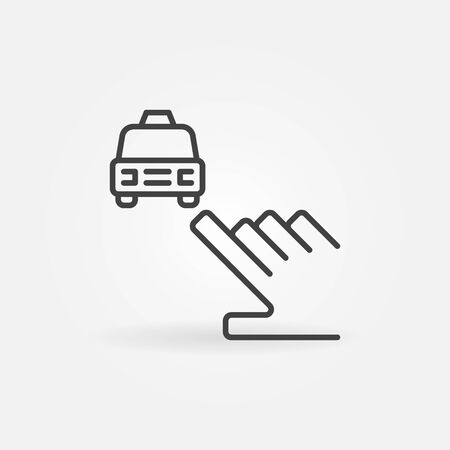 Hand pointing on Taxi car vector concept linear icon