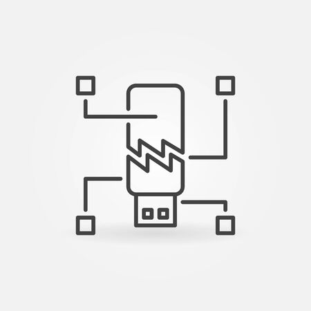 Corrupted USB Flash Drive vector icon in linear style