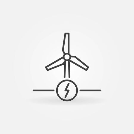 Wind Power or Energy vector concept outline icon Ilustrace